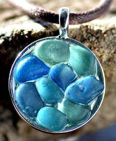 Rare turquoise, aqua and blue sea glass mosaic pendant.