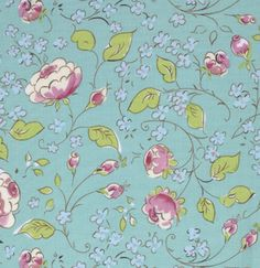 Chinoiserie Chic PWDF199 Aqua Chinois Rose by Free Spirit