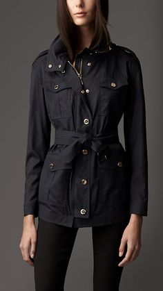 I'll probably never own a Burberry, but it's a gorgeous cut!  Lightweight Wool Silk Field Jacket | Burberry