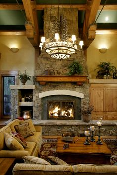 Great room decor, log home fireplace, cabin, futur, custom log, fireplaces, dream hous, edgewood log, design
