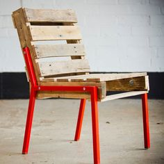 Fancy - Pallet Chair with Steel Legs  Not to buy ($1,000??  Seriously?) but nice idea.