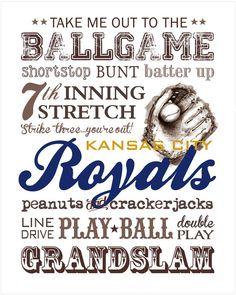 Kansas City Royals Baseball Subway Art 8x10 by CloverBrookArt, $10.00