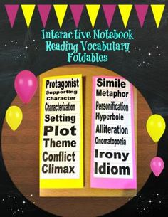 Reading Vocabulary Literary Terms Foldables for Interactive Notebooks from Digital Diva on TeachersNotebook.com -  (5 pages)  - 2 Reading Vocabulary Foldables for Interactive Notebooks. Includes terms for reading poetry, short stories and plays.