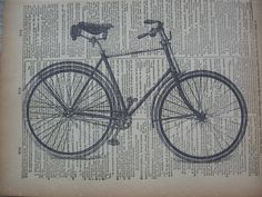 Bicycle Print -  Boy's Bike On Vintage Dictionary Page Book No.2. $10.00, via Etsy.