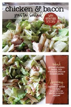 chicken and bacon pasta salad with homemade dressing. so, so, so good! my husband's favorite. | www.livecrafteat.com