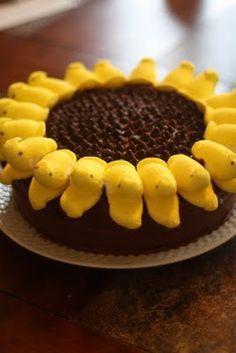 Cute sunflower Peeps cake