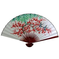 Oriental Furniture 30'' x 48'' Cherry Blossom Wall Fan in White