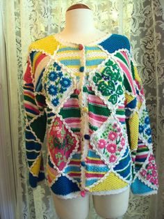 Vintage Lilly Pulitzer Patchwork Cardigan Sweater, on Etsy at RetroRosiesVintage.