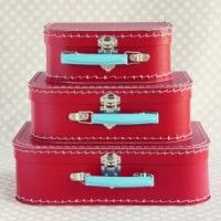 Red Paper Suitcase Set