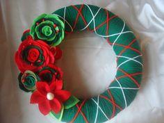Handmade Holiday Yarn Wreath in Green 12 in wreath by astrausa