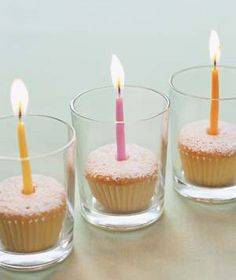 Mini cupcakes fit perfectly inside votive holders and make it easier to keep candles contained. table decorations, birthday parties, candle holders, mini cupcakes, birthday cupcakes, party tables, party centerpieces, birthday ideas, birthday decorations