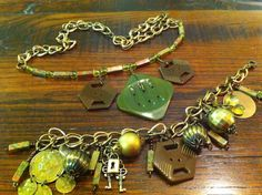 Vintage Bakelite Button Jewelry Necklace by LilyHillVintage, $66.00