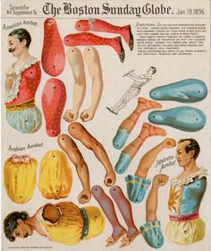 Acrobat Paper Dolls from the 1896 Boston Sunday Globe. I'd love a higher res copy of them so if anyone has them please drop me a note where I can find them.