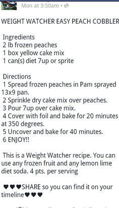 Weight watcher peach cobbler