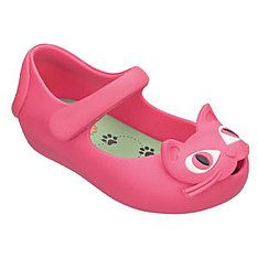 it's pink. it's a shoe. there's a cat on it.