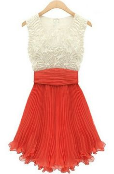White Red Sleeveless Dimensional Flowers Pleated Dress