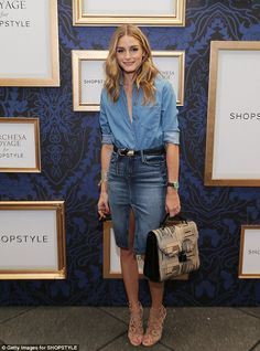 Olivia Palermo sports double denim at Marchesa during NYFW.