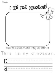 D is for Dinosaur handwriting