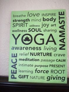 Yoga Subway Art on Canvas Vinyl Wall Lettering 16x20 Studio Home Decor Picture yoga space, life motto, yoga studio, subway art, exercise rooms, yoga art, vinyl, homes, canvases