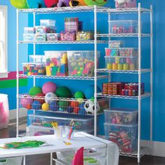 The Container Store Playroom Shelving    Make space for toys, books, games and craft supplies with our versatile InterMetro~ Shelving. A Basket Shelf corrals balls, large toys and sports equipment. InterMetro~ is easy to assemble and instantly creates a wealth of storage in a kid's room, playroom, basement...anywhere you need dependable, flexible storage.