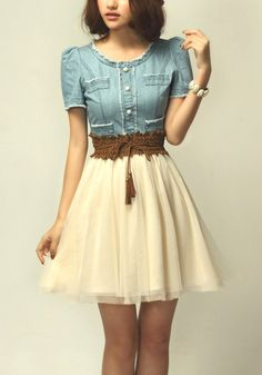 Light Blue Lace Embroidery Round Neck Denim Dress