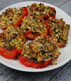 Quinoa-Stuffed Sweet Peppers with Corn, Spinach, Feta & Herbs