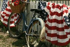 patriotic bike americana, summer picnic, bike, picnic summer, red white blue, bicycl, 4th of july, juli, patriot picnic