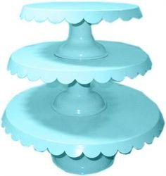Aqua Tin Scalloped Set of 3 Cake Stands