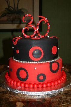 30th Birthday cake .. pink n black or white n black