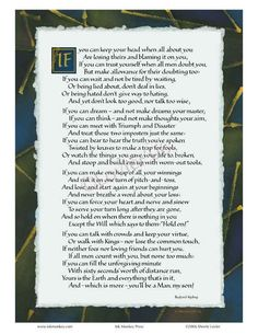 "A wonderful poem--""If"" by Kipling."