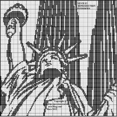Grille gratuite point de croix : New York Statue de la Liberté 1