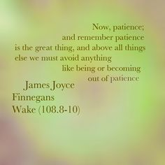 "Finnegans Wake James Joyce Quotes | James Joyce - Finnegans Wake (108.8-10): ""Now, patience; and remember ..."