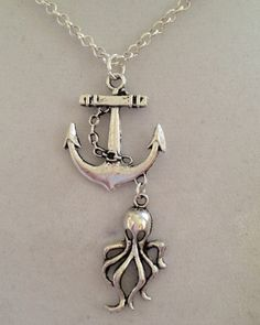 Anchor Pendant and Octopus Necklace by joytoyou41 on Etsy, $30.00