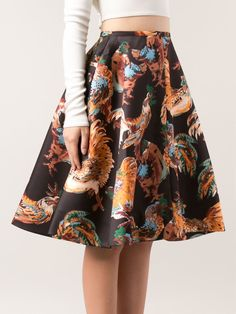 Shop ROCHAS rooster print skirt from Farfetch
