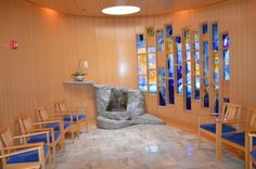 Meditation Room @Angelica Guerrero Hosp | stained glass by Janet Redfield | stone by Andreas von Huene