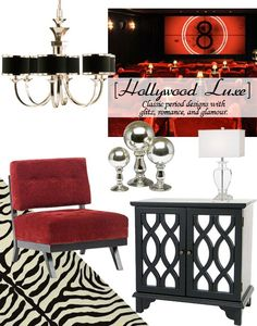 Influenced by classic period designs, the Hollywood Luxe look blends elegant design lines with rich opulent finishes like mirror, chrome, and lacquer. This style is glamorous and romantic, with a lot of glitz.