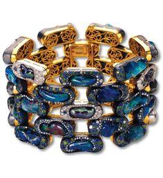 Fire Opal, Pearl, Tsavorite Garnet, Sapphire & Black Diamond Bracelet by Nicholas Varney