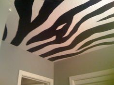 Zebra Ceiling with grey walls... Painted by Christy D. Morse 2011