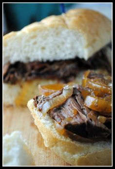 French Dip Sandwiches-Made w/chuck roast, worchestshire sauce, soy sauce, beef broth, garlic etc...