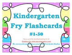 """FREE LANGUAGE ARTS LESSON - """"Kindergarten Fry Word Flashcards #1 - 50"""" -  Go to The Best of Teacher Entrepreneurs for this and hundreds of free lessons.  PreKindergarten - 1st Grade  #FreeLesson  #LanguageArts   http://www.thebestofteacherentrepreneurs.net/2014/09/free-language-arts-lesson-kindergarten.html"""