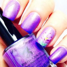 Purple shimmer F.U.N. Lacquer with flower accent nail by @OhMyGoshPolish