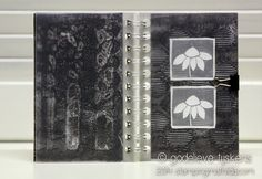 """""""For this week's black & white project, I chose a black & white gelli print I made a while ago, and the flowers I embossed on vellum, to decorate a notepad."""" StampingMathilda"""