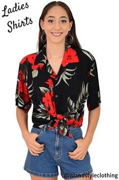 Pretty floral Womens hawaiian shirt blouse. Floral top for a luau, fancy dress party, uniform, casual or cruise. #hawaiianshirt #ladiesshirt #ladieshawaiianshirt #fancydress #uniform #luau #cruise #cruisewear #springbreak #barshirt #schoolies #luaushirt #luau #partyshirt #redhibiscusshirt #floralshirt #uniforms