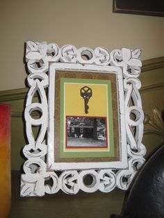 Framed house key with picture of house. Do this for every house you live in!