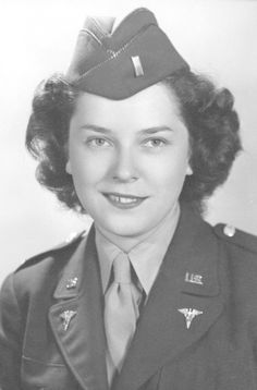 Army Nurse Virginia Kay Rawley during WW2. First she joined the Cadet Nurse Corps and she finished her nurse training with Army Nurse Corps in an army hospital. She served in army hospitals in the US and discharged in 1946 ~