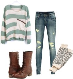 Teal and cream striped sweater with skinnies, leg warmers, and brown combat boots
