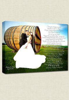 canvas printed w/ wedding photo & vows or first dance lyrics