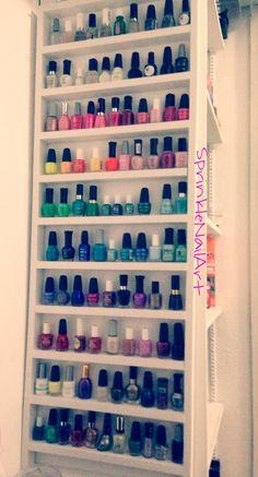 DIY closet nail polish rack