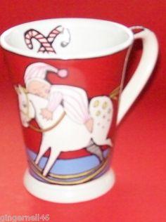 "Ursula Dodge Rocking Horse Red Coffee Mug ""Ursula's Christmas"" Holiday PJ's Tree"