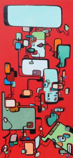 """Mod Squares"" by Brian Wall // Retro oil painting, red"
